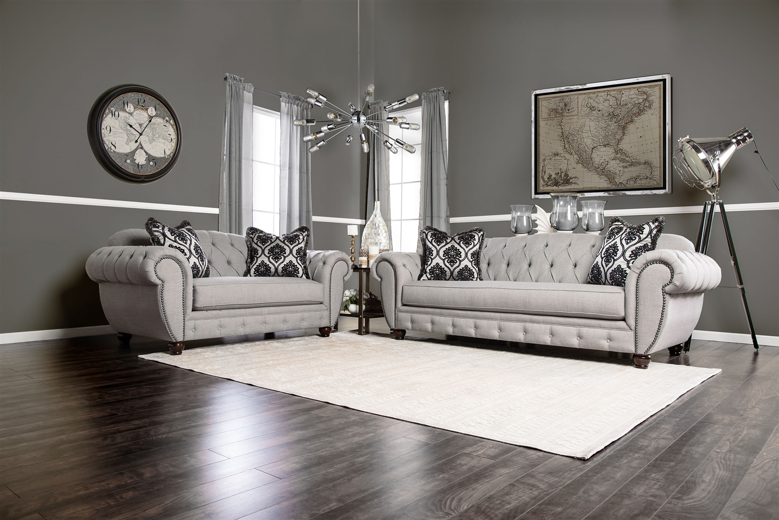 Viviana Modern Victorian Grey Tufted Sofa & Loveseat Set
