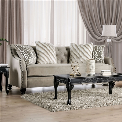 Light Brown Transitional Style Chenille Sofa