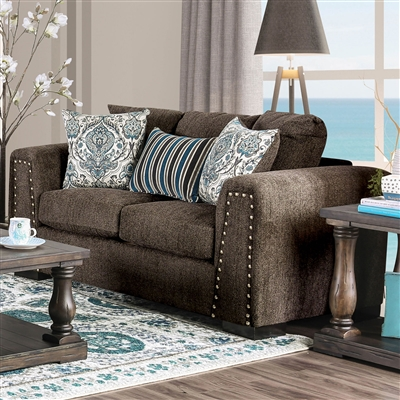 Transitional Style Dark Brown Chenille Upholstered Loveseat w/ Nailhead Trim