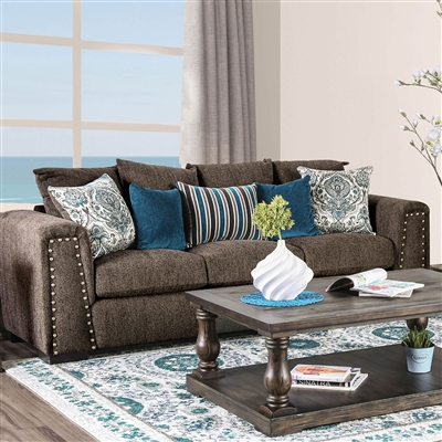 Transitional Style Dark Brown Chenille Upholstered Sofa w/ Nailhead Trim