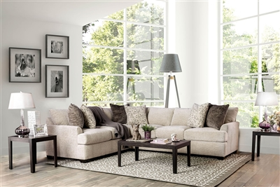 Ivory Color Chenille Upholstered Corner Sectional