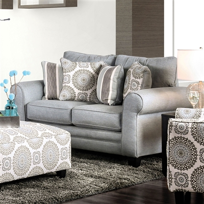 Transitional Style Misty Blue Finish Loveseat