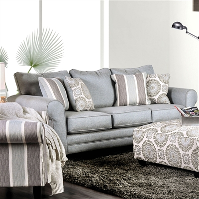 Transitional Style Misty Blue Finish Sofa