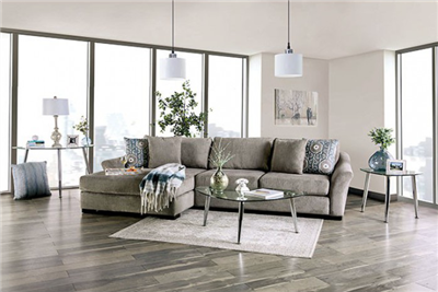 Sigge Plush Oversize Sectional in Light Grey Chenille