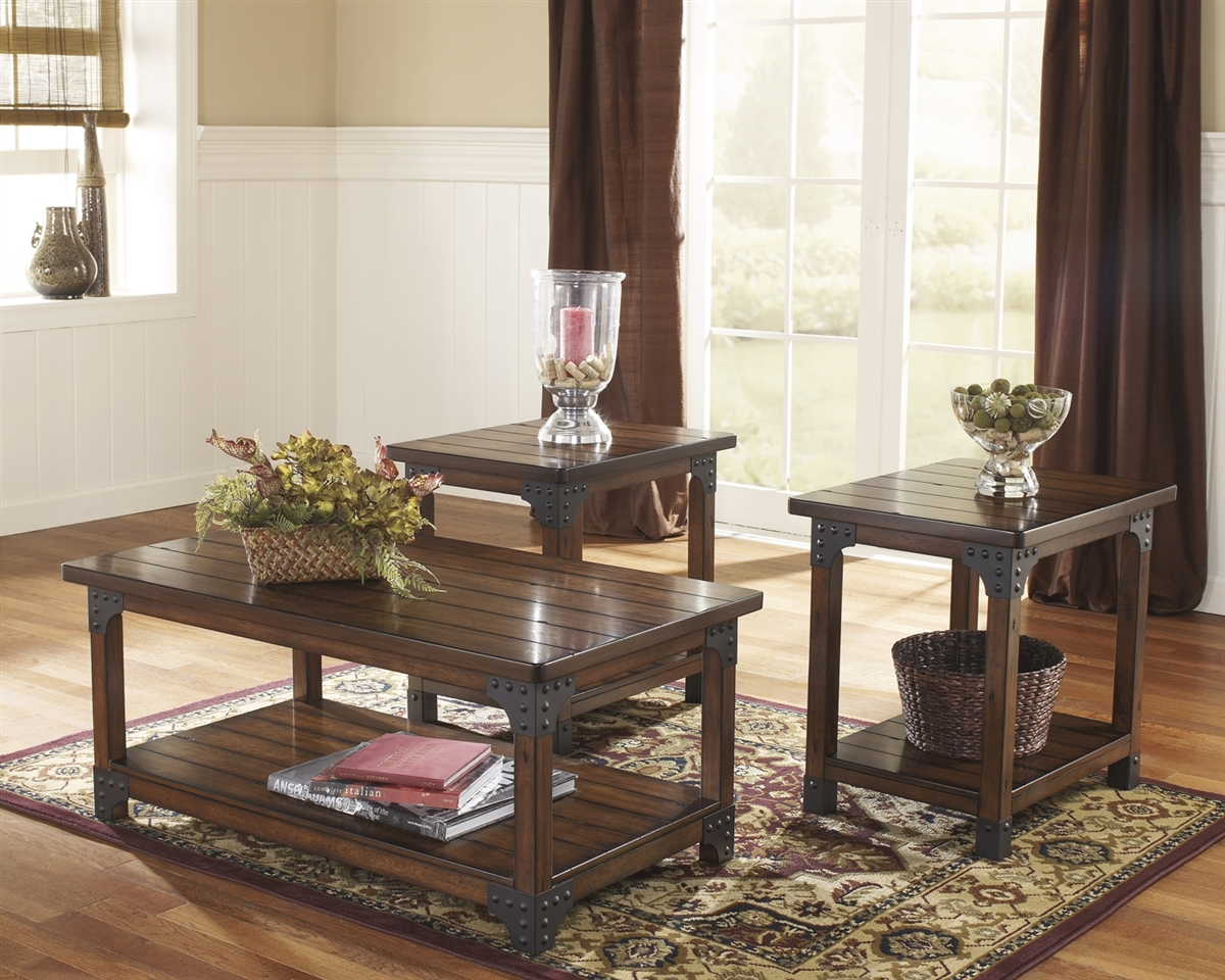 3 Piece Rustic Coffee Table Set By Ashley Signature Design