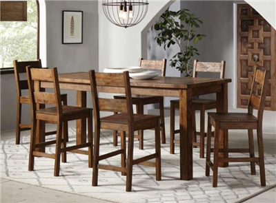 Holloway Rustic Golden Brown Finish 7PC Counter Height Dining Set
