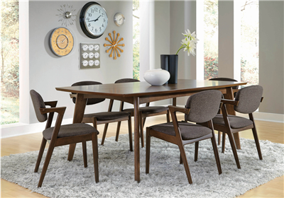 Walnut finished mid-century modern style dining set