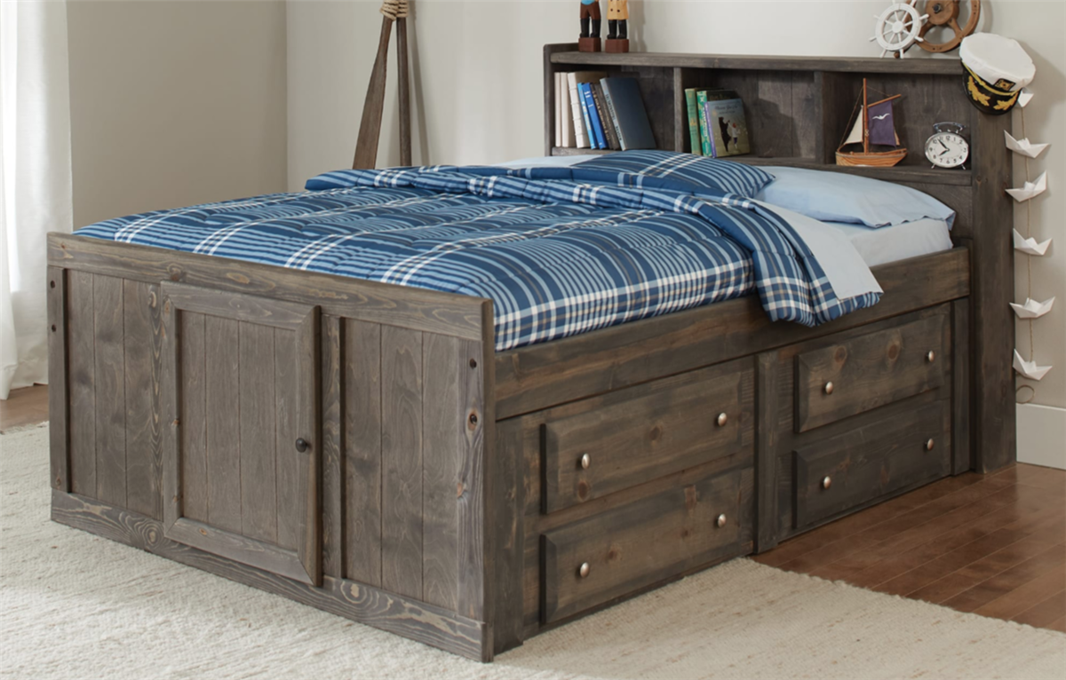 Beautiful Gunsmoke Wash Solid Wood Twin Captains Bed With Underbed Storage And A Bookcase Headboard Made In Usa