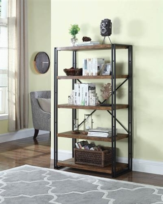 Wide Industrial Metal and Wood Bookcase