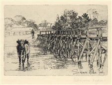 "Seymour Haden pencil-signed etching ""The Village Ford"""