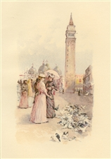 "Childe Hassam chromolithograph ""The Piazza"""
