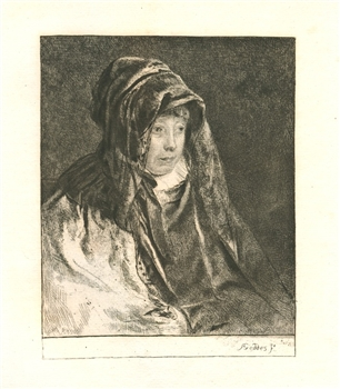 "Andrew Geddes original etching ""The Artist's Mother"""