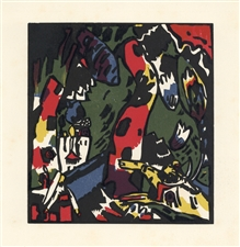 "Wassily Kandinsky ""The Archer"" original color woodcut"