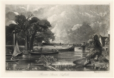 "Sir John Constable / David Lucas mezzotint ""River Stour, Suffolk"""