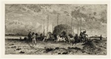 "Peter Moran ""Harvest in San Juan, New Mexico"" original etching"