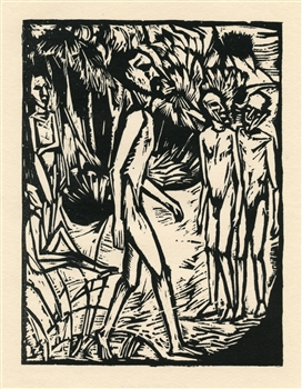 "Erich Heckel ""Manner am Strand"" original woodcut"