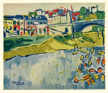 "Maurice de Vlaminck ""The Bridge at Chatou"" lithograph"