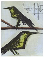 "Bernard Buffet original lithograph ""Pair of Birds"""