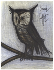 "Bernard Buffet original lithograph ""The Little Owl"""