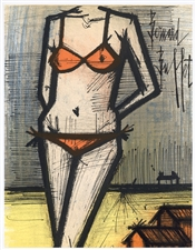 "Bernard Buffet original lithograph ""On The Beach"""