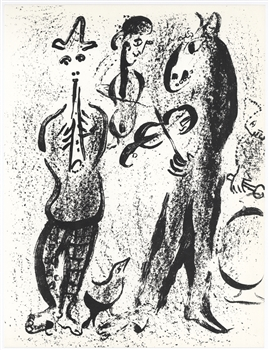"Marc Chagall original lithograph ""Itinerant players"""