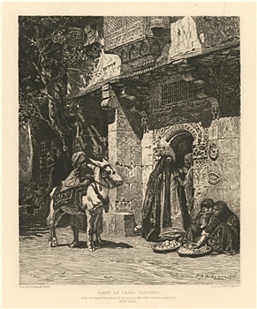 "James Smillie | Frederick Bridgman etching ""Lady of Cairo Visiting"""