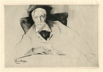 "Edgar Chahine ""Alfred Stevens"" (Proof) original etching and drypoint"