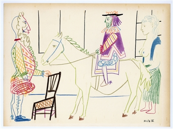Pablo Picasso lithograph (Clown and Circus Rider)