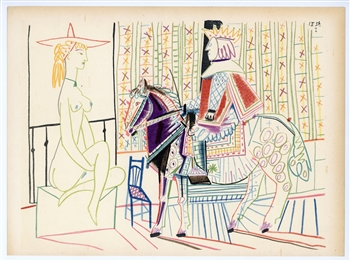 Pablo Picasso lithograph Woman and Knight Verve