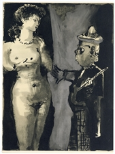 Pablo Picasso lithograph (Woman and Clown)