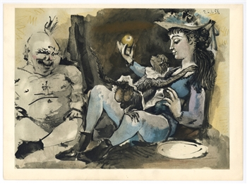 Pablo Picasso lithograph (Woman, Clown and Monkey)