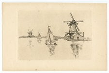 "Armand Guillaumin ""En Hollande"" original etching (In Holland)"