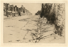 "Albert Baertsoen ""La grand'rue, le matin"" original etching"