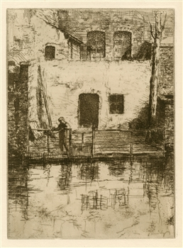 "Jacques Beurdeley ""Un coin à Bruges"" original etching"