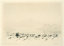 "George Elbert Burr ""A Mirage"" signed etching / drypoint, trial proof"