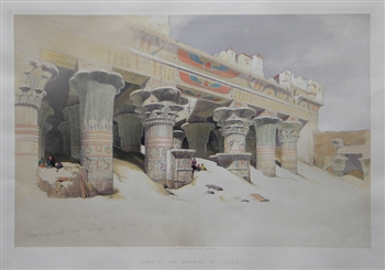 "David Roberts lithograph ""Part of the Portico of Edfou, Egypt"""