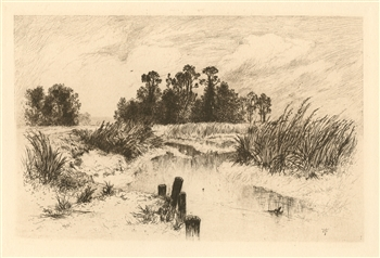 "Thomas Moran ""Passaic Meadows"" original etching"