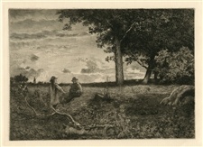 "Thomas Moran etching ""An American Sunset"""