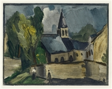 "Maurice de Vlaminck ""Church at Bougival"" lithograph"