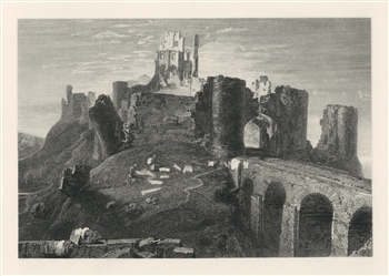 "J. M. W. Turner ""Corfe Castle"" engraving"