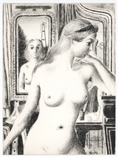 "Paul Delvaux original lithograph ""La Reflection"""