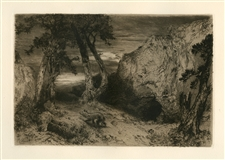 "Thomas Moran original etching ""Twilight in Arizona"""