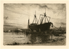 "Henry Farrer original etching ""Sunset, Gowanus Bay"""