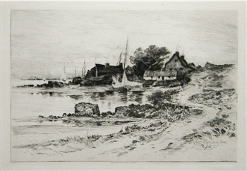 "William Goodrich Beal original etching ""On Gloucester Shore"""