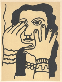 "Fernand Leger lithograph ""Visage aux mains"" edition of 1000"