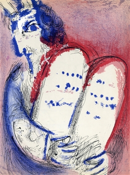 "Marc Chagall ""Moses with the Tablets of Law"" original Bible lithograph"