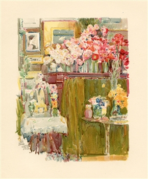 "Childe Hassam chromolithograph ""The Altar and Shrine"""