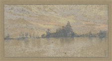 "James Whistler lithograph ""Sunset, Venice"" 1905"