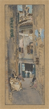 "James Whistler lithograph ""Bead-Stringers, Venice"" 1905"