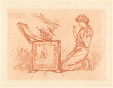 "Frederick Stuart Church original etching ""Pandora"""